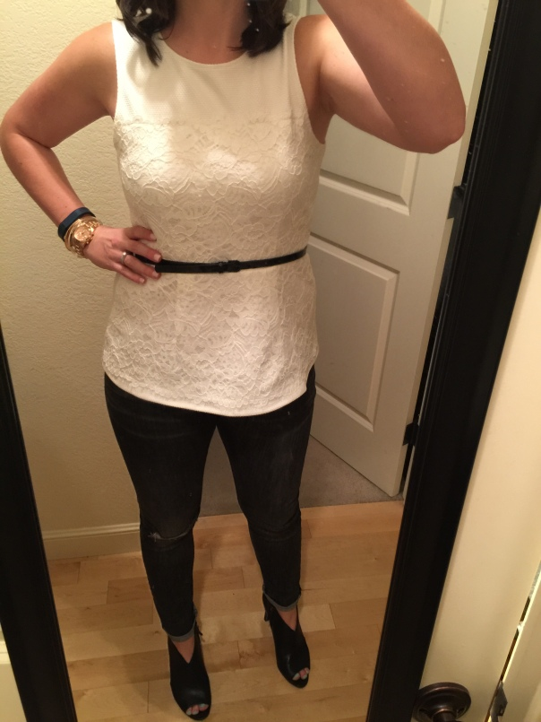 White peplum top, black belt, ripped jeans, black open-toe booties
