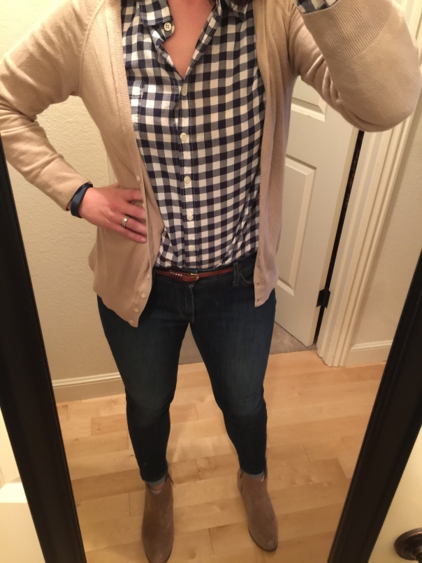 Tan sweater, navy gingham shirt, jeans, suede boots