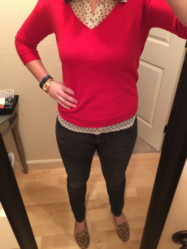 Red sweater, navy polka top top, ripped jeans, leopard print flats