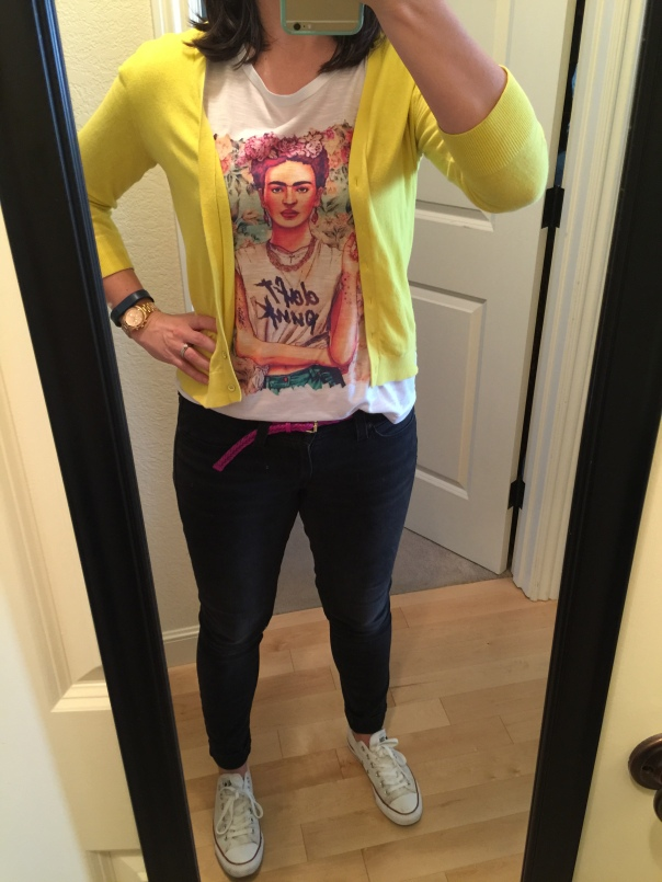 Yellow cardigan, Frida Daft Punk silk screen tee, fuchsia belt, black jeans, white Converse