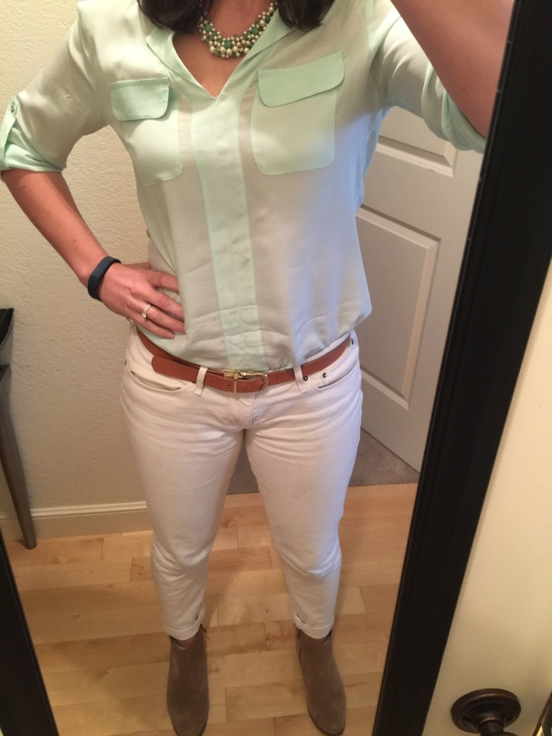 Mint blouse, white jeans, suede boots