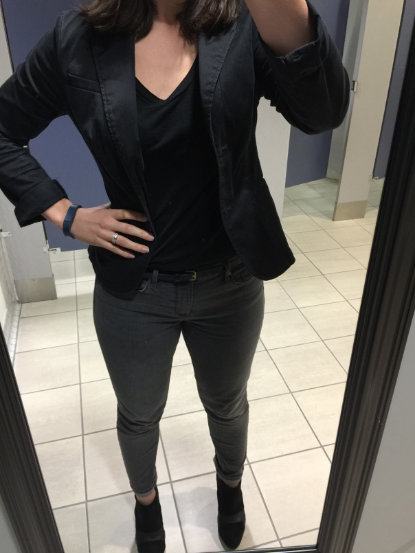 Black blazer, black tee, gray jeans, black booties