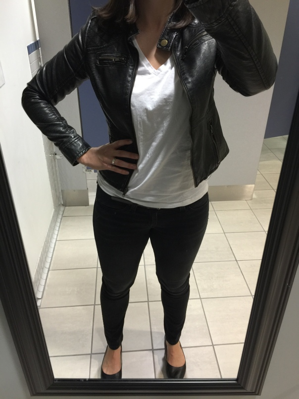 Black leather jacket, white tee, black jeans, black flats