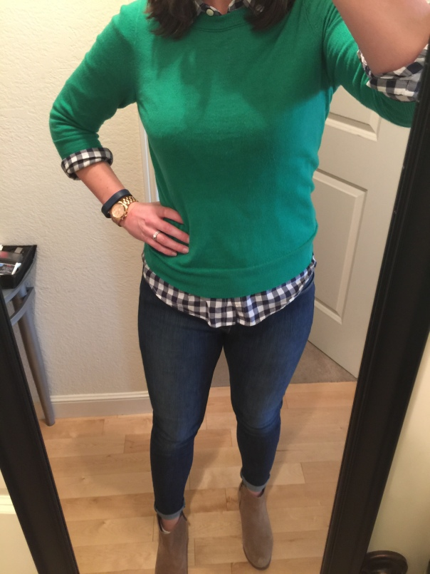 Green sweater, navy gingham shirt, jeans, suede boots