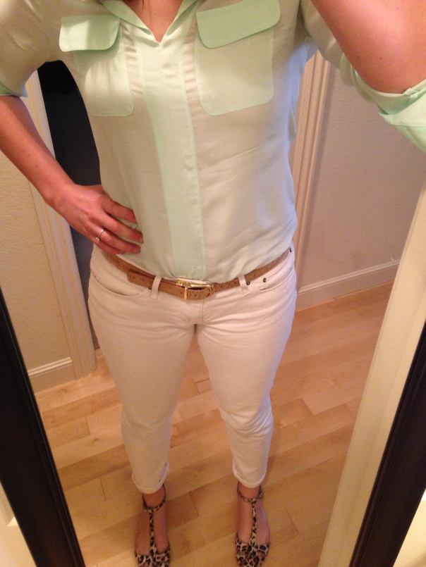 Mint blouse, white jeans, leopard print flats